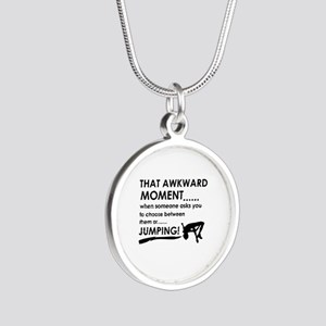 Jumping sports designs Silver Round Necklace