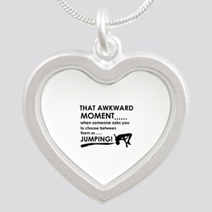 Jumping sports designs Silver Heart Necklace