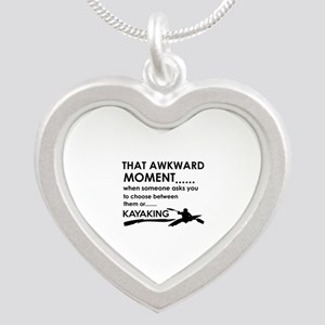Kayaking sports designs Silver Heart Necklace