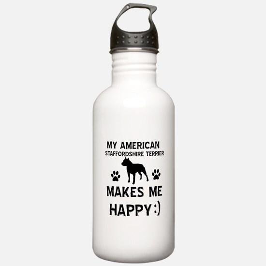 My American Staffordshire makes me happy Water Bottle