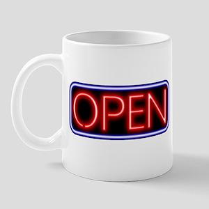 Neon Open (Black Back) Mug