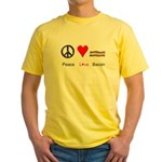 Peace Love Bacon Yellow T-Shirt