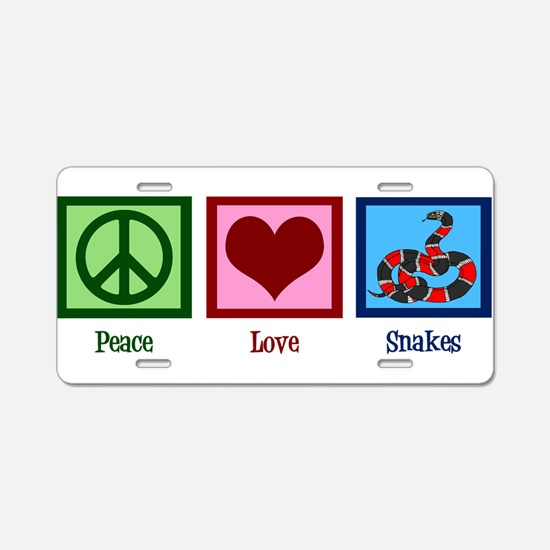 Peace Love Snakes Aluminum License Plate