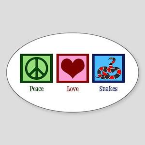 Peace Love Snakes Sticker (Oval)