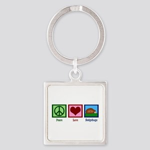Peace Love Hedgehogs Square Keychain