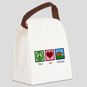 Peace Love Hedgehogs Canvas Lunch Bag