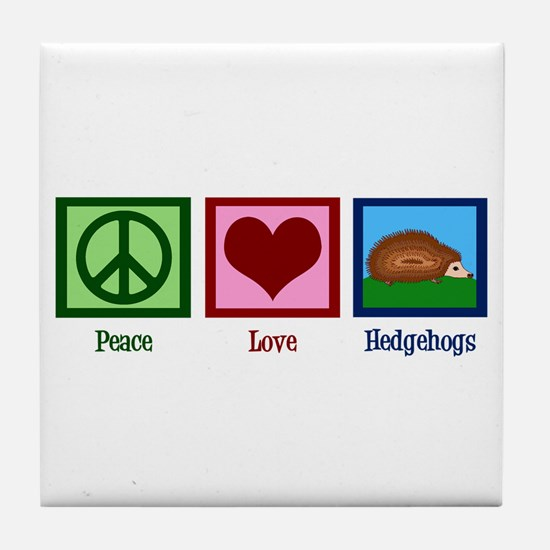 Peace Love Hedgehogs Tile Coaster