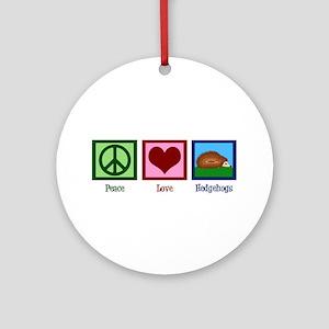 Peace Love Hedgehogs Ornament (Round)