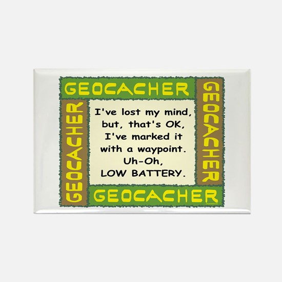 Green Geocacher Lost Mind Rectangle Magnet