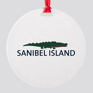 Sanibel Island - Alligator Design. Round Ornament