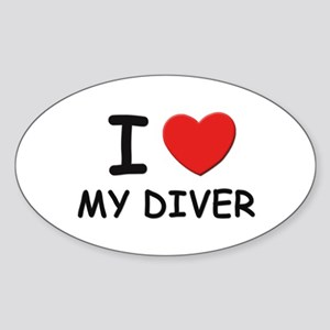 I love divers Oval Sticker