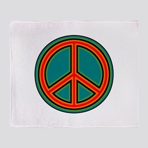 Orange Green Peace Sign Throw Blanket