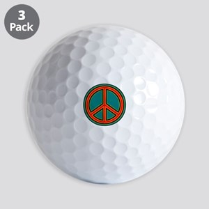 Orange Green Peace Sign Golf Ball