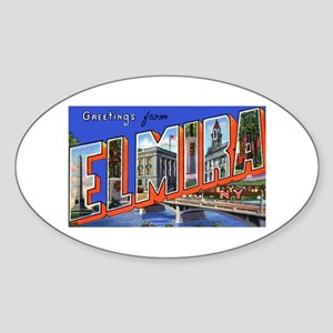 Elmira New York Greetings Oval Sticker