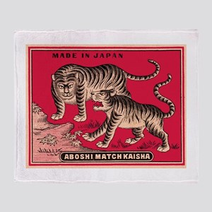 Antique Japanese Tigers Matchbox Label Throw Blank