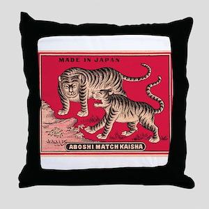 Antique Japanese Tigers Matchbox Label Throw Pillo