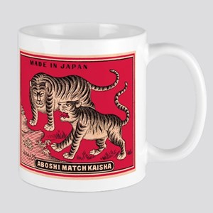 Antique Japanese Tigers Matchbox Label Mug