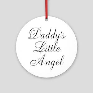 Daddys Little Angel Black Script Ornament (Round)