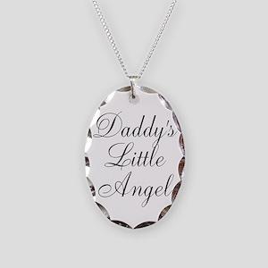 Daddys Little Angel Black Script Necklace