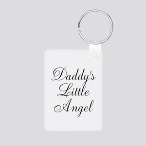 Daddys Little Angel Black Script Keychains
