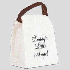 Daddys Little Angel Black Script Canvas Lunch Bag