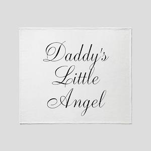 Daddys Little Angel Black Script Throw Blanket