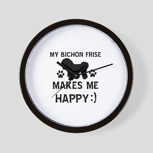 My Bichon Frise Makes Me Happy Wall Clock