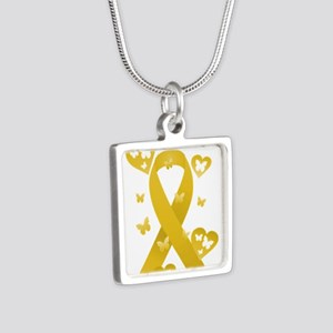 Yellow Awareness Ribbon Silver Square Necklace