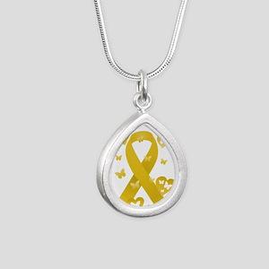 Yellow Awareness Ribbon Silver Teardrop Necklace