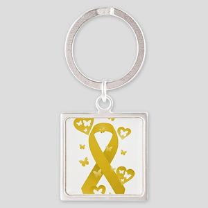 Yellow Awareness Ribbon Square Keychain