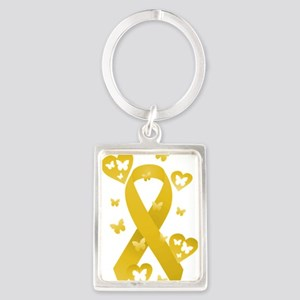 Yellow Awareness Ribbon Portrait Keychain