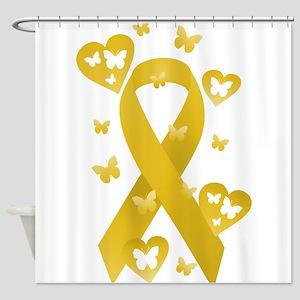 Yellow Awareness Ribbon Shower Curtain