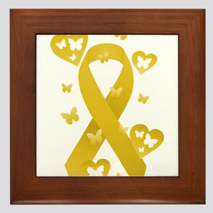 Yellow Awareness Ribbon Framed Tile