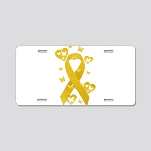 Yellow Awareness Ribbon Aluminum License Plate