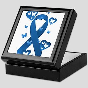 Blue Awareness Ribbon Keepsake Box
