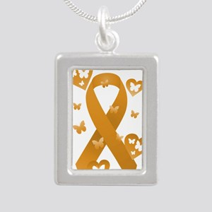 Orange Awareness Ribbon Silver Portrait Necklace