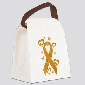 Orange Awareness Ribbon Canvas Lunch Bag