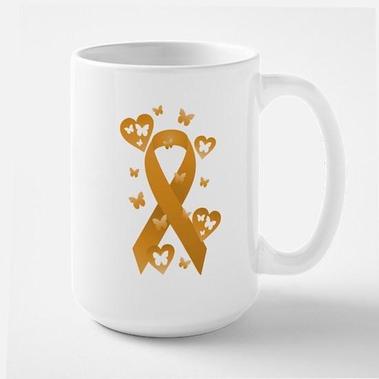 Orange Awareness Ribbon Large Mug