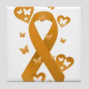 Orange Awareness Ribbon Tile Coaster