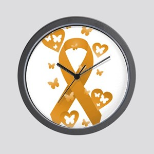 Orange Awareness Ribbon Wall Clock