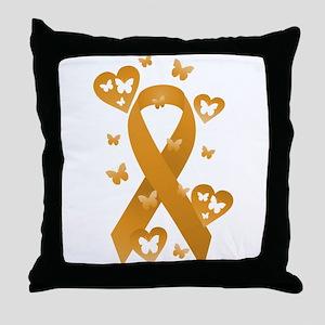 Orange Awareness Ribbon Throw Pillow