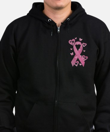 Pink Awareness Ribbon Zip Hoodie (dark)