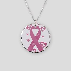 Pink Awareness Ribbon Necklace Circle Charm