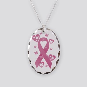 Pink Awareness Ribbon Necklace Oval Charm