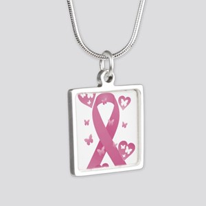 Pink Awareness Ribbon Silver Square Necklace