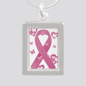 Pink Awareness Ribbon Silver Portrait Necklace
