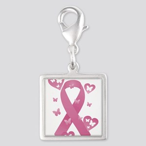 Pink Awareness Ribbon Silver Square Charm