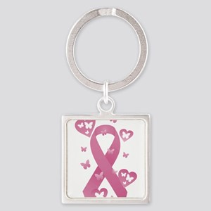 Pink Awareness Ribbon Square Keychain
