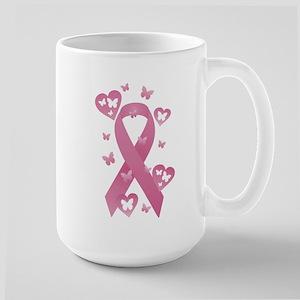 Pink Awareness Ribbon Large Mug