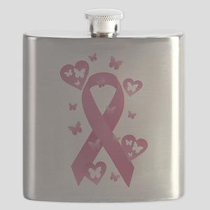 Pink Awareness Ribbon Flask